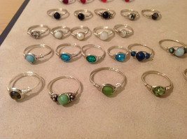 Big Lot of 45 silver wire handmade wrap rings, different sizes and stones image 5