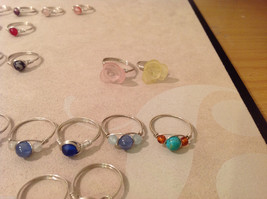 Big Lot of 45 silver wire handmade wrap rings, different sizes and stones image 7