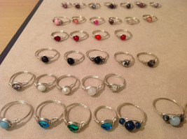 Big Lot of 45 silver wire handmade wrap rings, different sizes and stones image 4