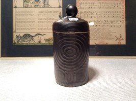 Black Clay Jar Circular Ridges and Designs 4 Inches High With Top image 2