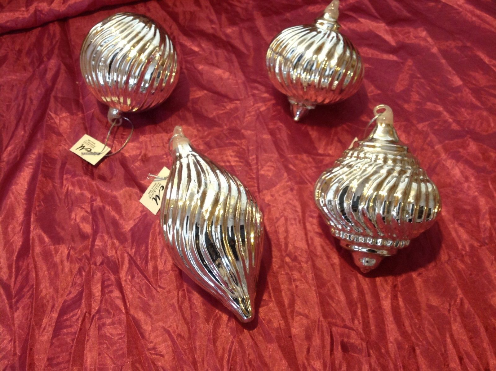 glass Ornament holiday Christmas chromed glass ribbed statement balls set of 4