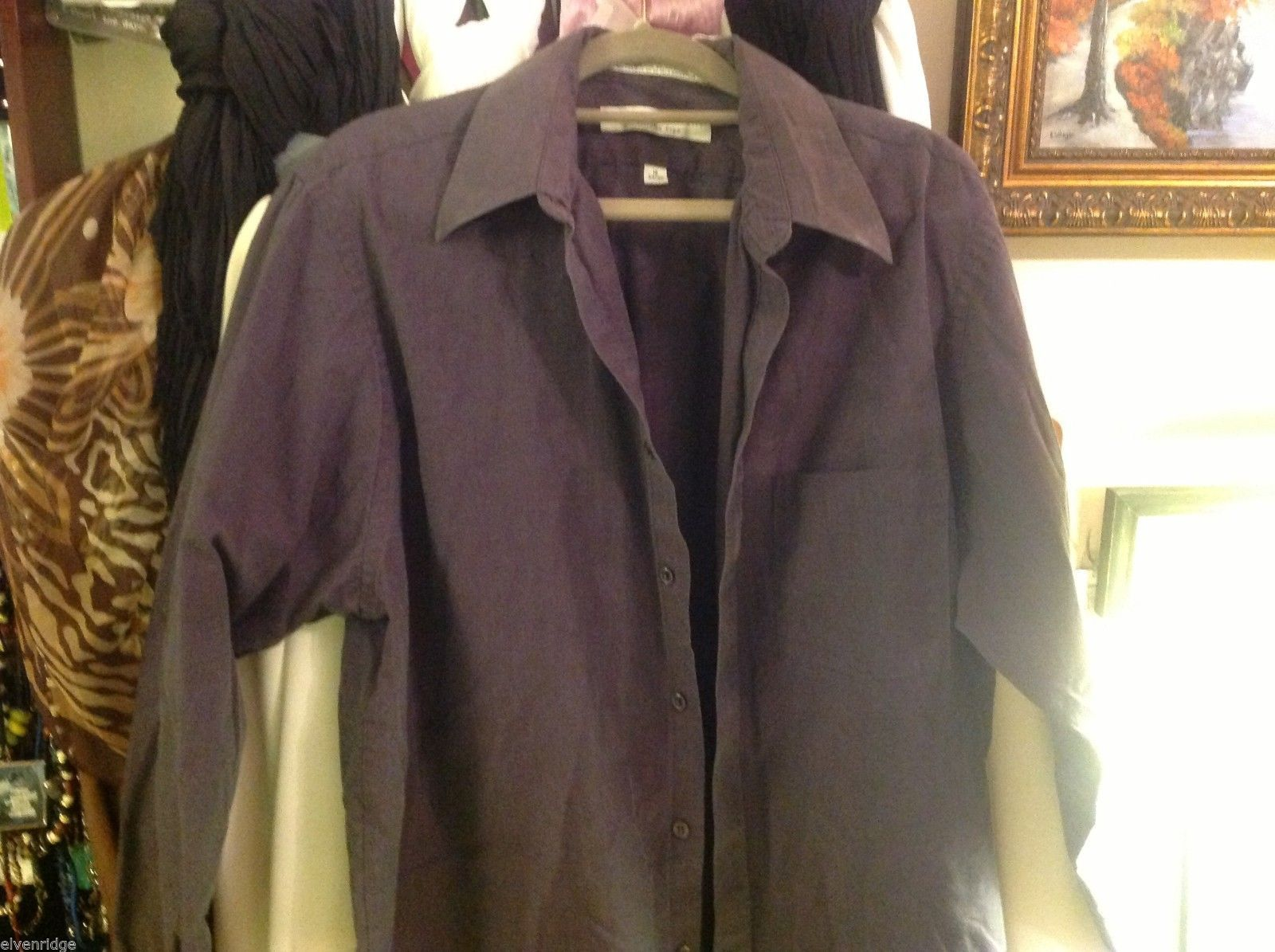 geoffrey beene shirt size 16 34/35  deep purple w greenish sheen wrinkle free