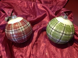 glass Ornament holiday Christmas Giant plaid red or green choice glitter ball