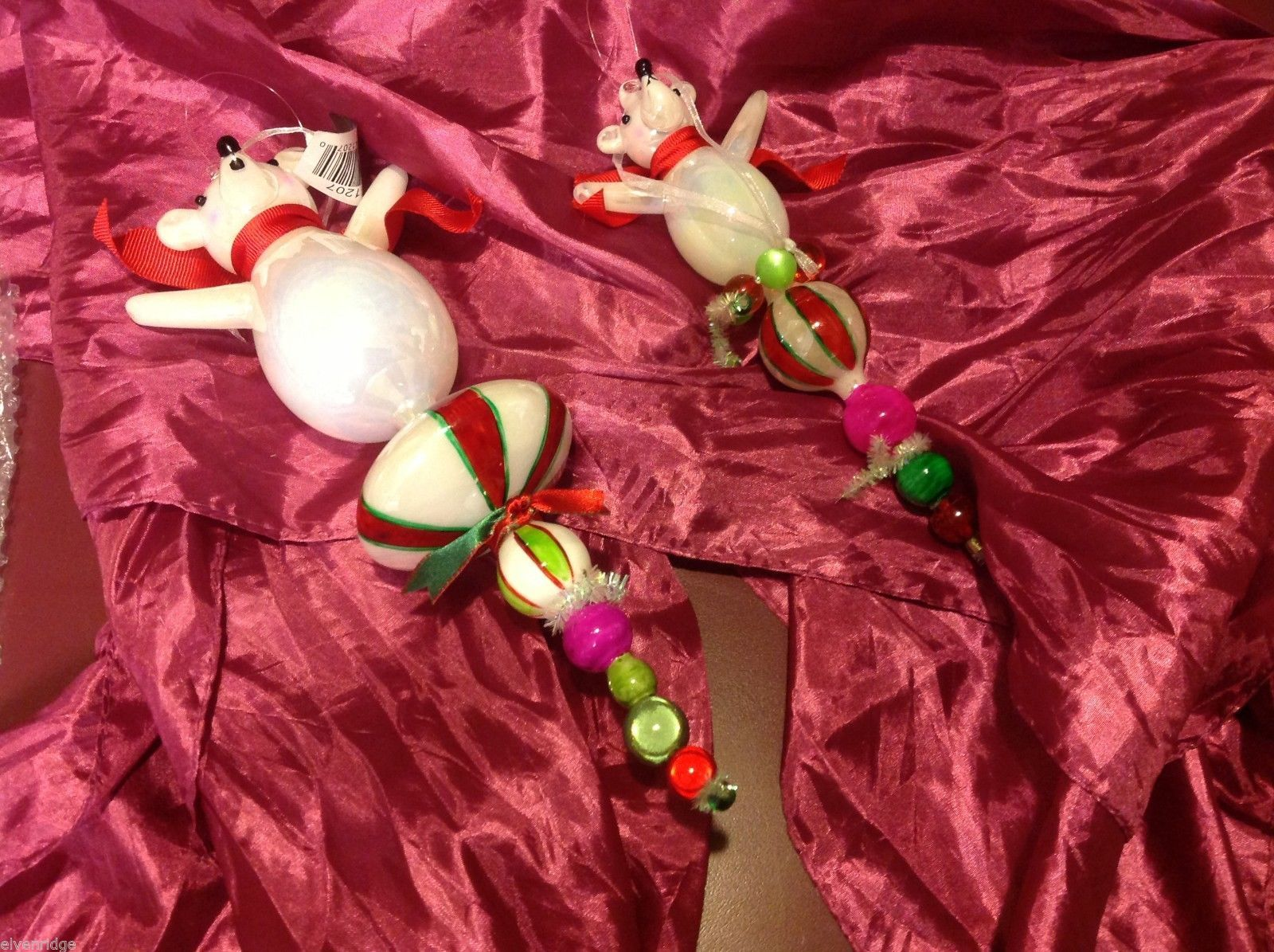 glass Ornament holiday Christmas set of two Glass bears on colorful finials