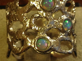 Three Opal Sterling Silver Textured Lacy Shiny Cuff Ring Size Choice 7 or 8 image 4