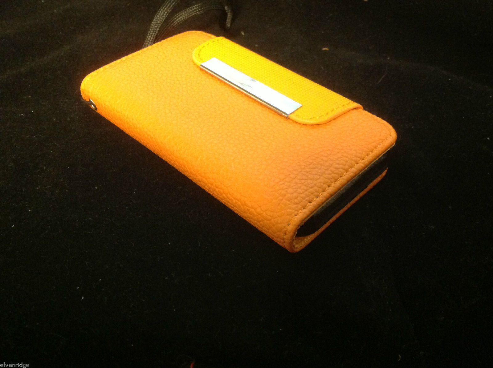 iPhone 4G 4GS fashion case in orange with card slots auto closure carry handle