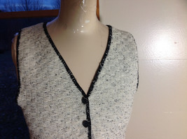 This'll Make Him Nuts!  Knit Sweater Vest Tan with  Black Trim V-Neck Size S/M image 4