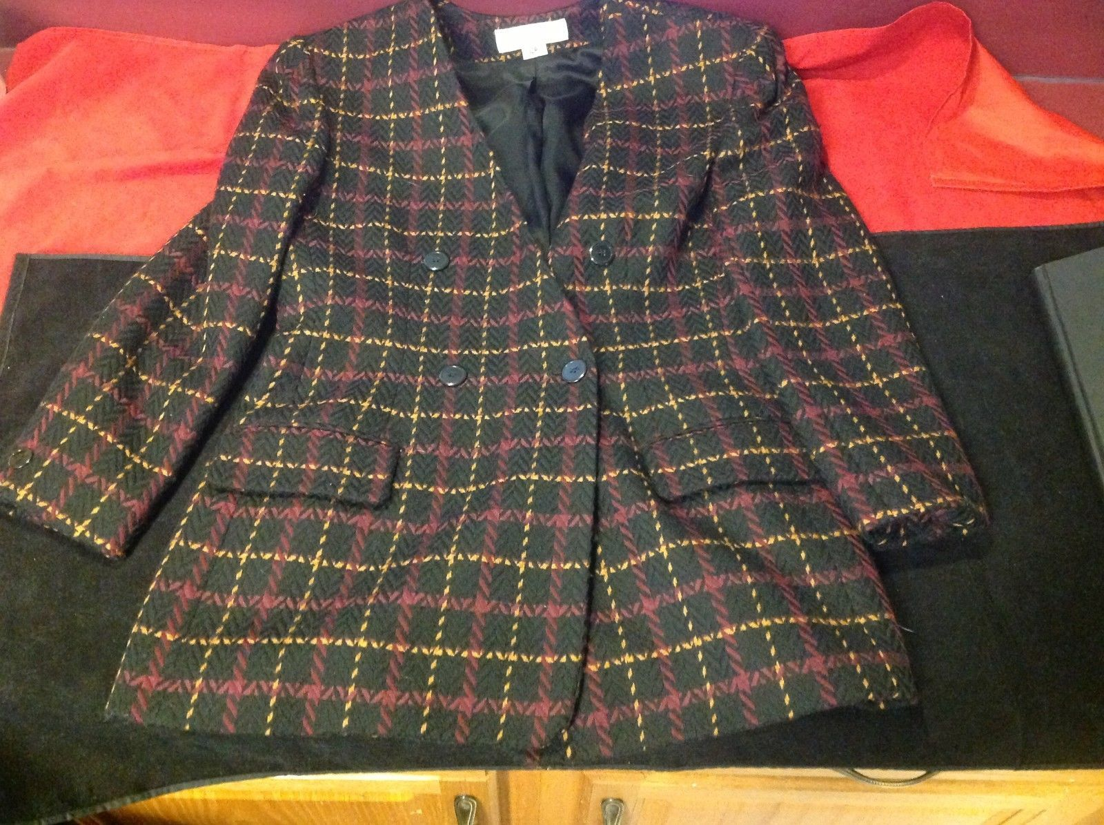jones new york size 12 color blue with yellow and maroon lines coat blazer woman