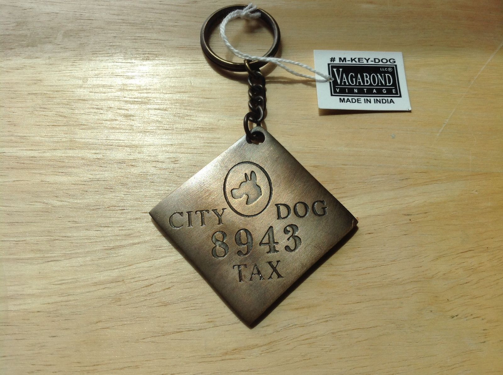 key ring chain Brass City Dog Tax paid reproduction with vintage appearance