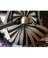 ladies hand bag striped loomed palm leaf with hammered brass element OOAK - $148.49