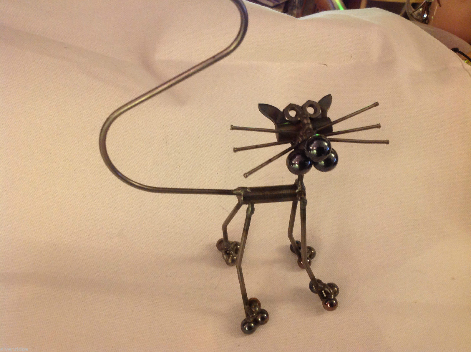 metal sculpture Screw Cat with tail hand made by elf works lane staff artist