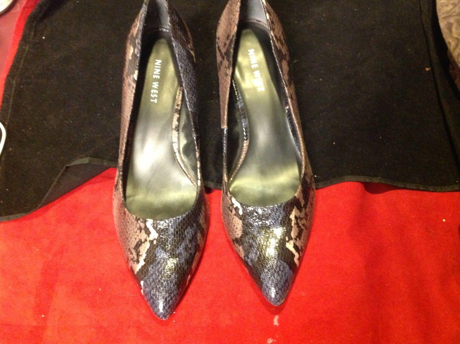 nine west sneak skin multicolor  4 inch heel size 8
