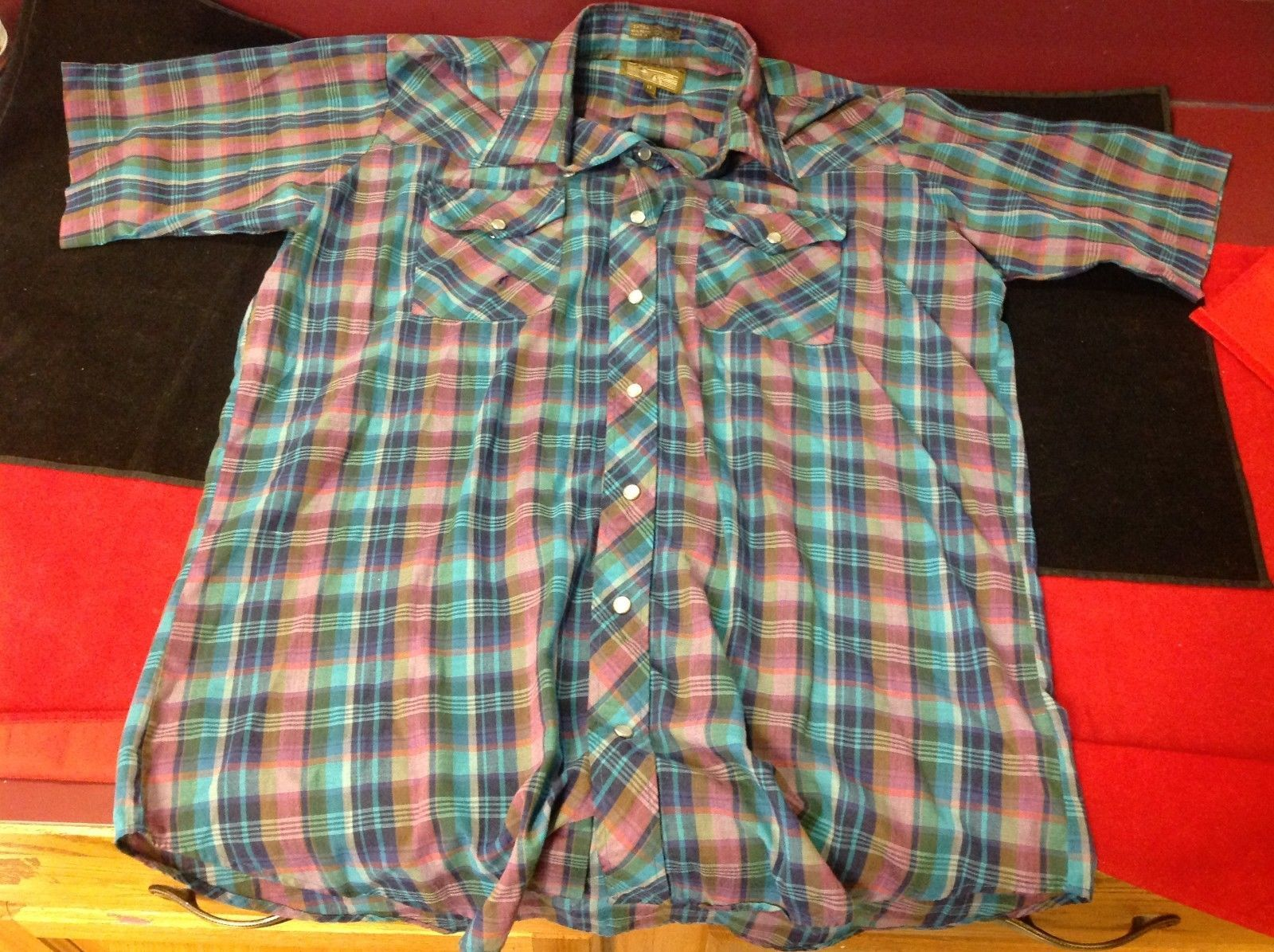 plains man square man purple green short sleeve shirt 16 1/2 tall