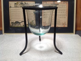 Black Cast Iron Candle Holder Stand and Glass Dish Candle Holder image 2