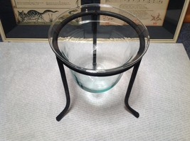 Black Cast Iron Candle Holder Stand and Glass Dish Candle Holder image 3
