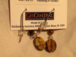 Tiger Eye Stone Quartz Crystal Silver Tone Drop Earrings Hook Back GeoJewelry   image 2