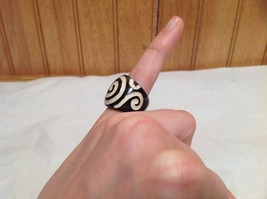 Big Swirl Wide Band Wooden Ring Size 5 or 10 Design in White Handcrafted image 4