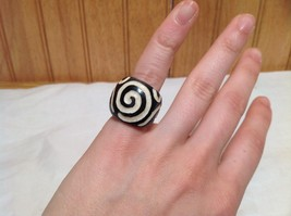 Big Swirl Wide Band Wooden Ring Size 5 or 10 Design in White Handcrafted image 6
