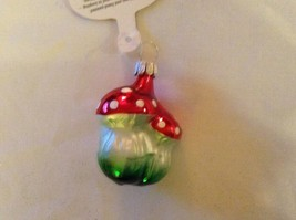 Tiny double mushroom silver red Glass Holiday Tree Ornament Old German Christmas image 4