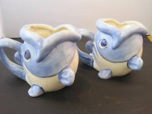 Set of 2 blue and white fish shaped planters