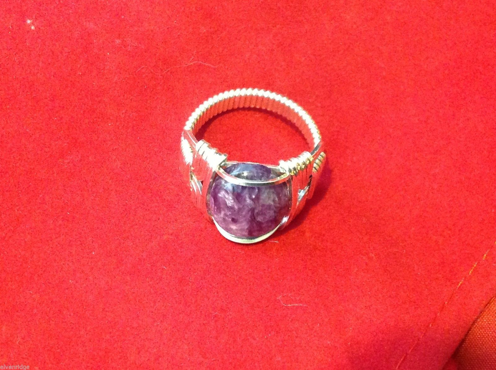 silver purple  ring NEW charoite from Russia size 10 silver wire wrap