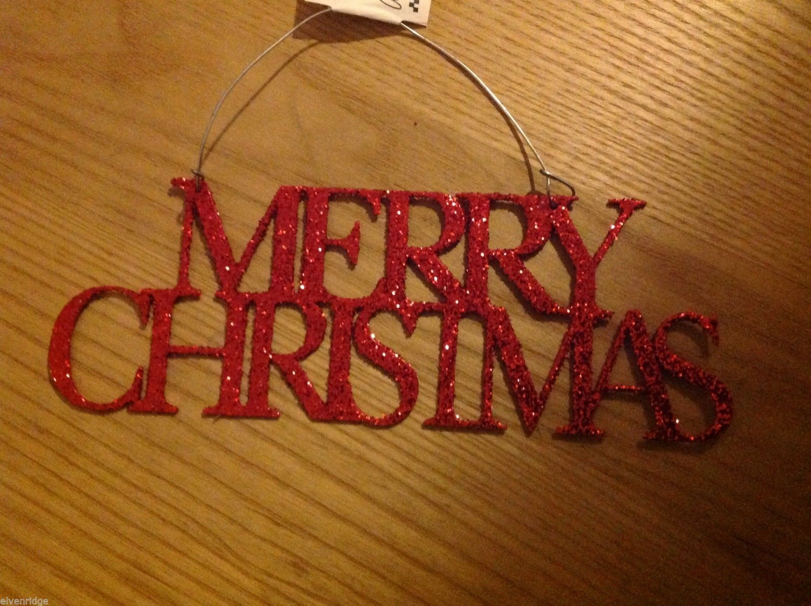 sparkly Merry Christmas hanging sign choice red or white glitter on sturdy metal
