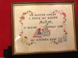 stitchery framed vintage hand made My Guests Like my kitchen best