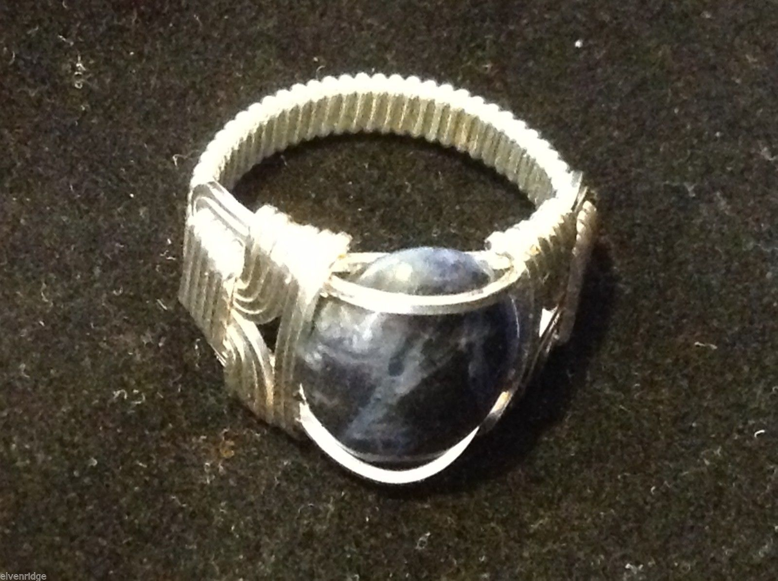 silver gray stone fashion ring sodalite in silver wire wrap size 10