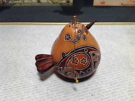 Bird with Floral Design Hand Carved Art Ornament Peruvian Gourd Eco Sustainable image 2