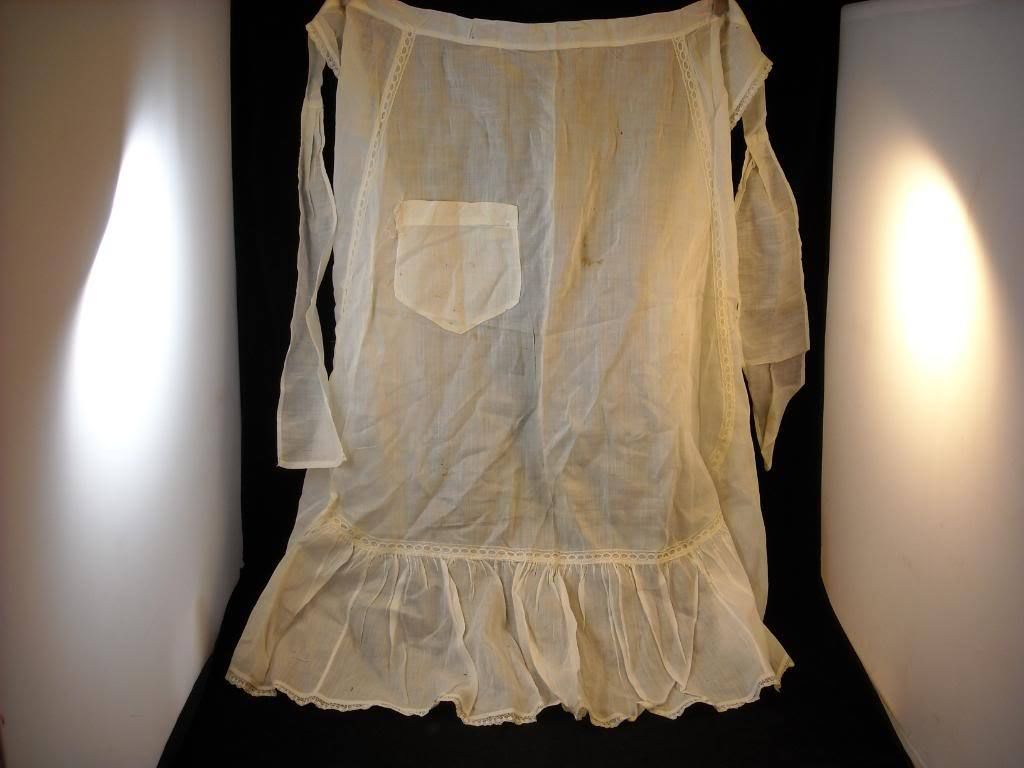vintage apron sheer white fabric w lace hand made