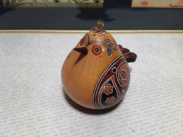 Bird with Floral Design Hand Carved Art Ornament Peruvian Gourd Eco Sustainable image 4