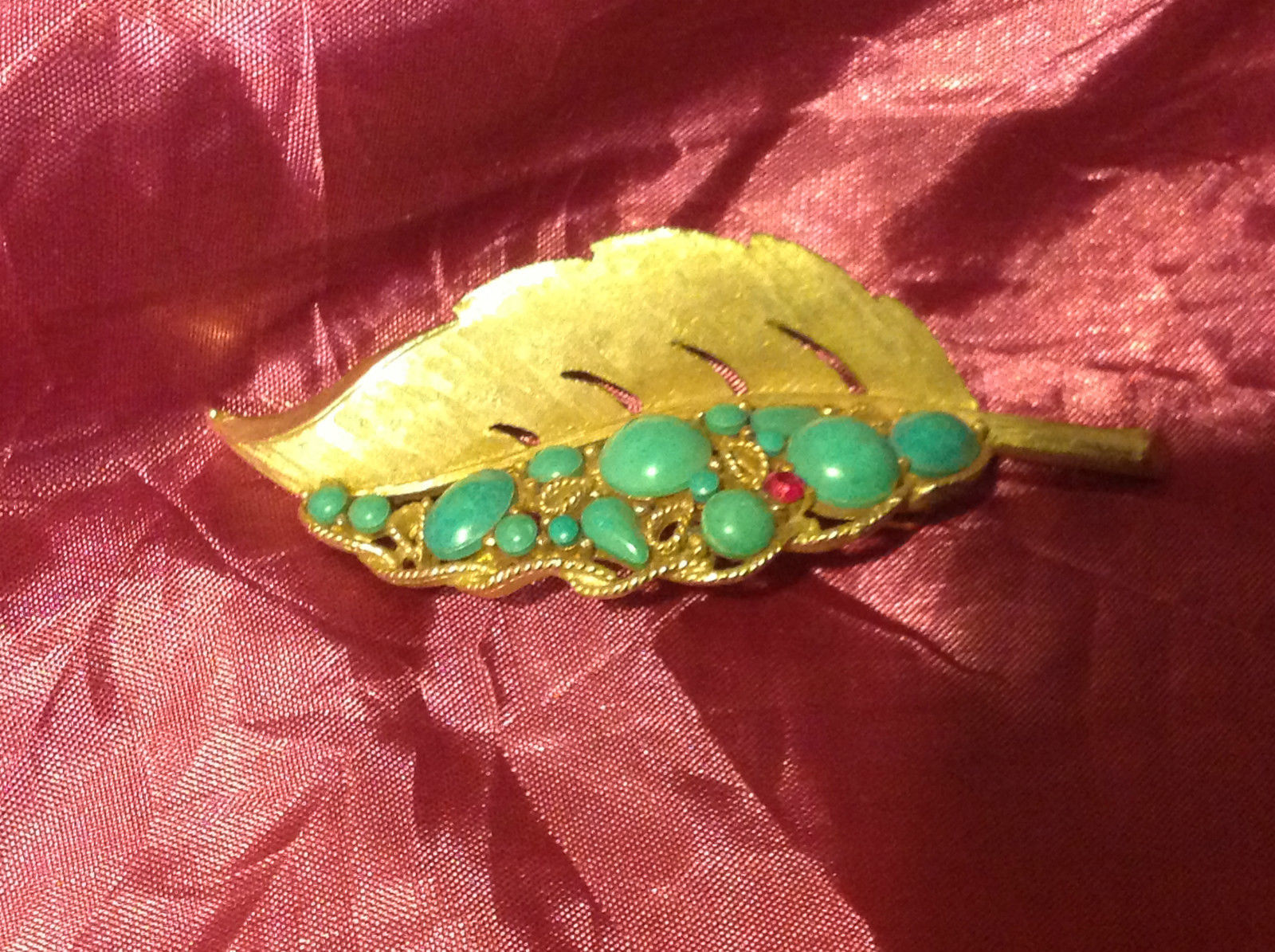vintage gold light blue and red leaf pendant