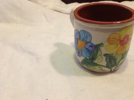 vintage majolica small coffee or tea cup decorative with flowers vintage estate