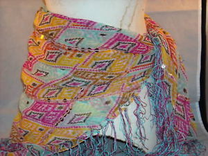 Primary image for women's shawl or sash scarf belt head dress multicolored w sequins