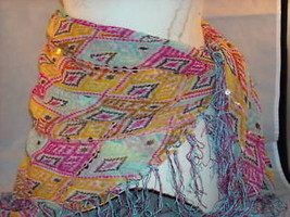 women's shawl or sash scarf belt head dress multicolored w sequins - $39.99