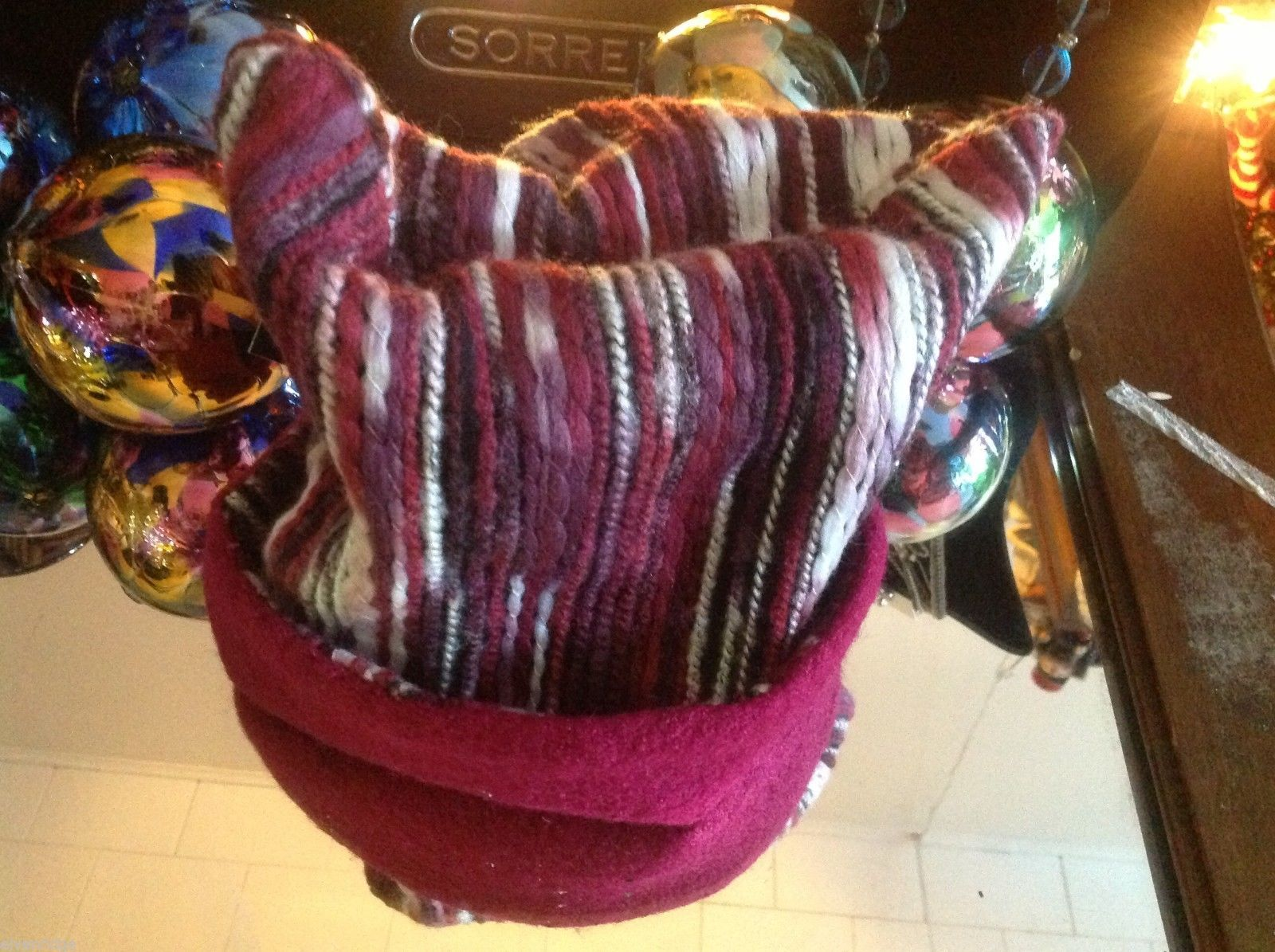 Wool hat felted with red and pink colors and texture explosion Ophelie