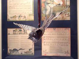 Bird Ornament Silver Tone Vintage Look image 3