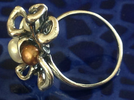 Unique Eclectic Sterling Silver White Mocha Three Pearl Ring Size Choice 7 or 8 image 3