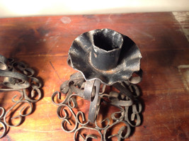 Two Piece Set Antique Candlestick Holders Black Metal 5 Inches Tall image 5