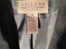 UNIFORM John Paul Richard Pure Black Jacket Blazer Shoulder Pads Size 16 image 3
