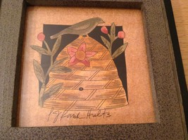 Bird Sitting on Beehive Decorative Picture in Frame Wood Glass NEW image 5