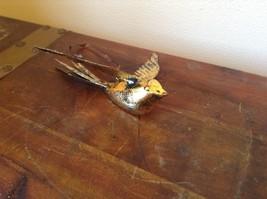 Vagabond Vintage Gold Tone Bird in Flight Ornament Brown Ribbon for Hanging image 2