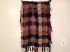 Black Brown Beige Tan Plaid Fashionable Scarf Wrap Shawl Length 42 Inches image 3