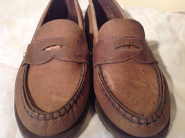 Vibram Size 8 and a Half Brown Hand Sewn in USA Penny Loafers  Half Inch Heel image 9