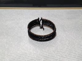 Black Beaded Bracelet Steam Punk Black and Metal Beads image 2