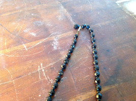 Black Bead Necklace Adjustable Length made in West Germany 15 Inches faceted Jet image 4