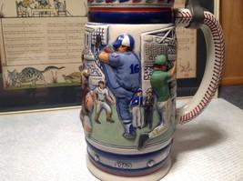 Vintage Ceramic Handmade Beer Stein with Pewter Lid Baseball Theme image 2