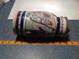 Vintage Ceramic Handmade Beer Stein with Pewter Lid Baseball Theme image 10