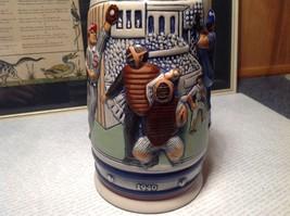 Vintage Ceramic Handmade Beer Stein with Pewter Lid Baseball Theme image 3