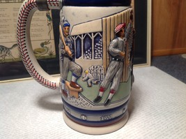 Vintage Ceramic Handmade Beer Stein with Pewter Lid Baseball Theme image 4